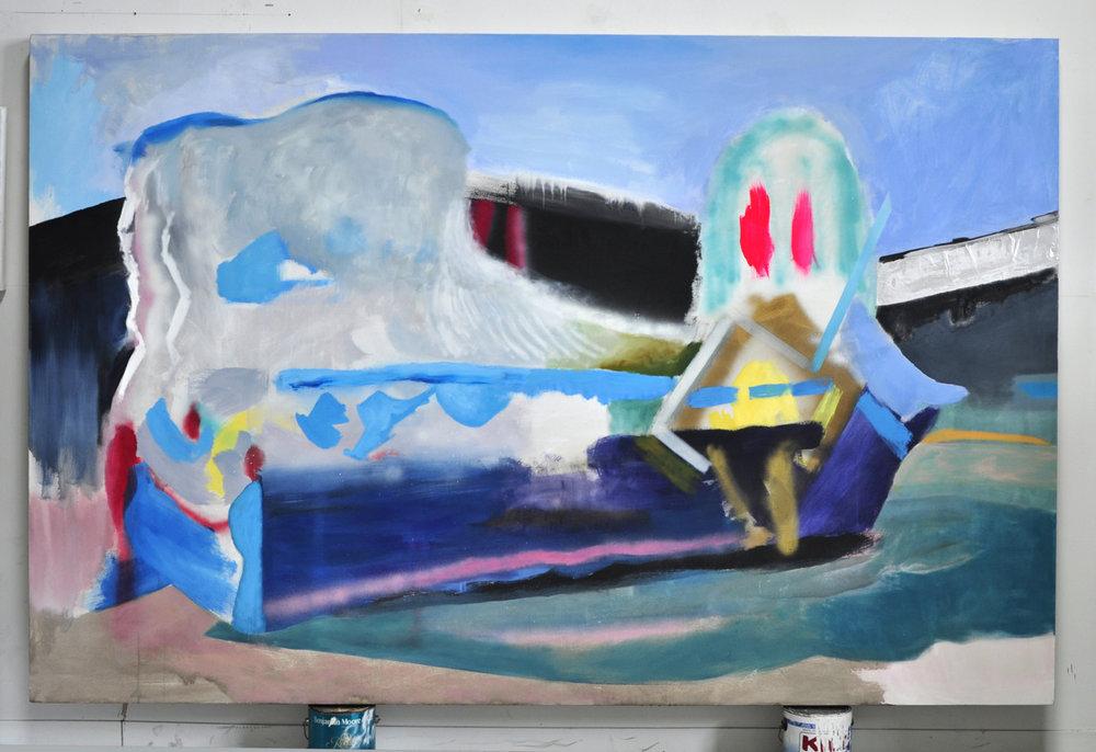 Ship, Oil, Spray Paint, Foil, Acrylic on Canvas 5' x 8' 2008