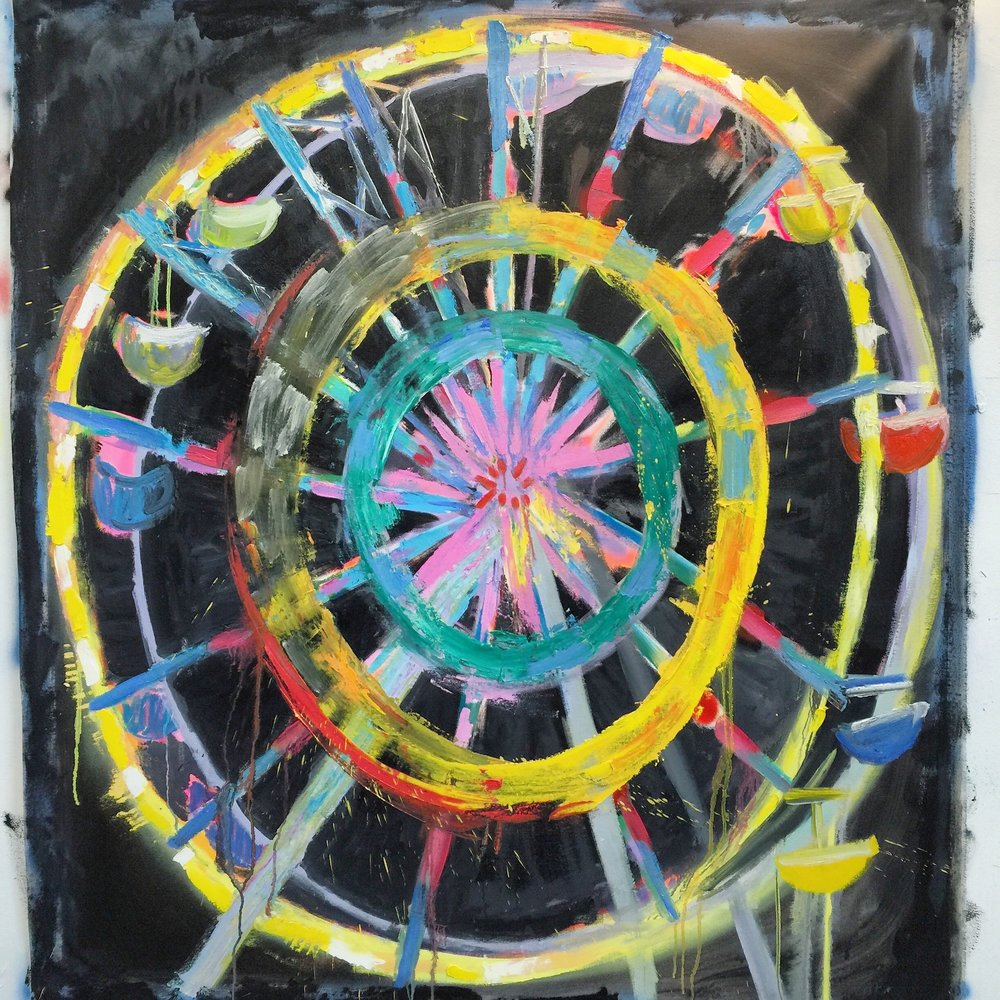 Wheel, 4' x 5' Spray Paint, Acrylic and Oil on canvas, 2014
