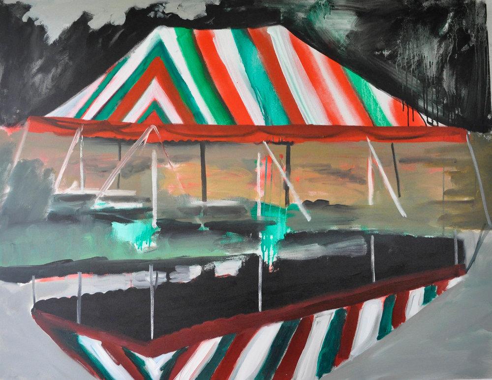 Viva Italiana 2, 3' x 4', Acrylic, Spray Paint and Oil on Canvas 2014