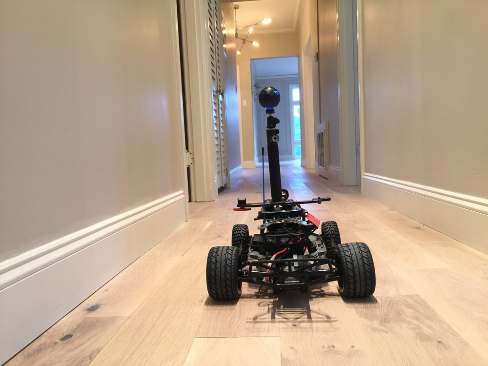 The Remoh Rover strolling through a condo shooting a VR 360° video for a client in San Francisco, Ca