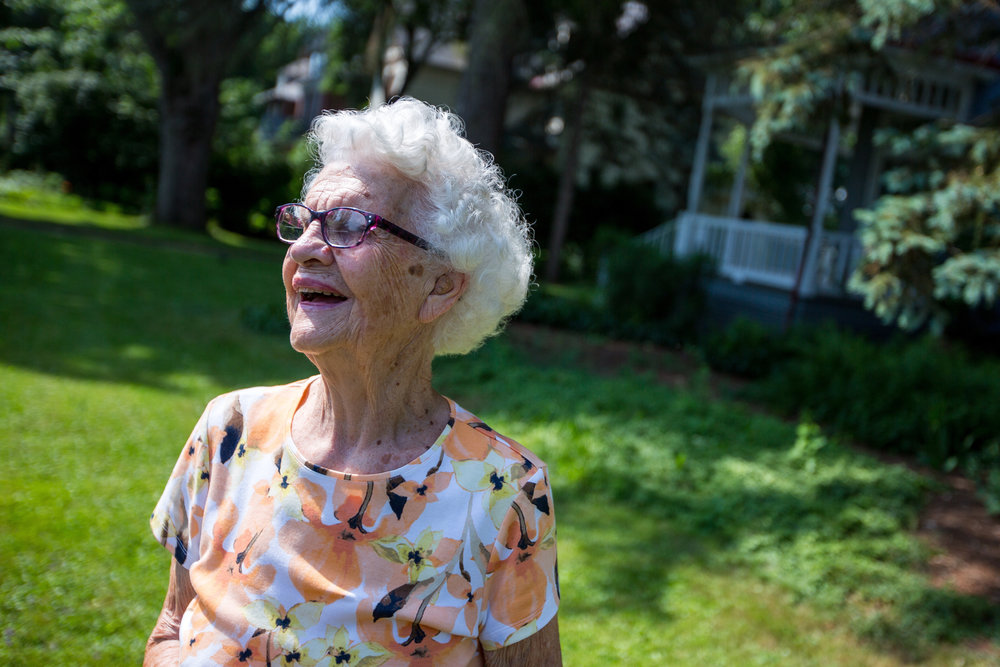 Hazel Cottage stands outside a residents home in Sewickey before making a Meals on Wheels delivery on Monday morning. Cottage won the Unsung Hero Award for her 19 years of work with the the organization.