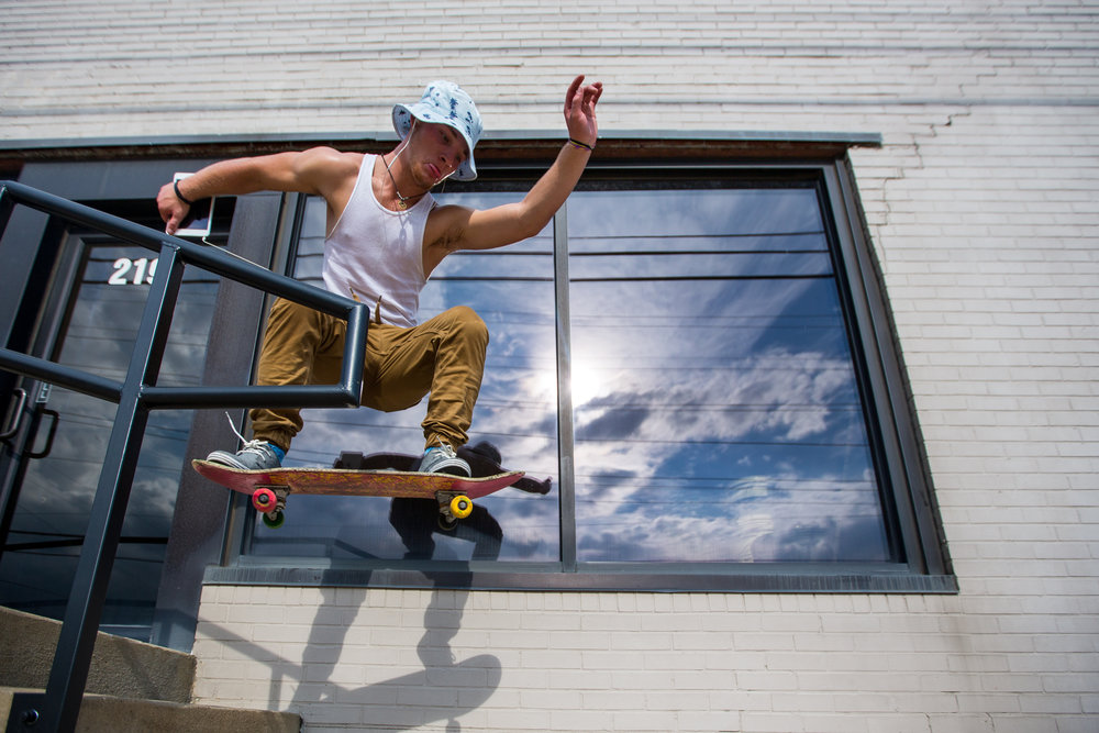 Abraham Sevin of Ambridge skates off of steps in front of a building on Duss Ave. in Ambridge on Thursday afternoon.
