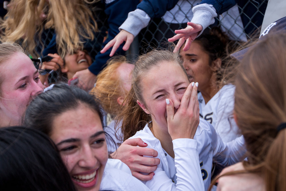Detroit Country Day's Olivia Bossardet (10) cries in excitement after she and her team won the D2 State Field Hockey Championships at Skyline High School on Saturday, October 29, 2016. Detroit County Day beat Hartland during penalty stroke overtime. Matt Weigand | The Ann Arbor News