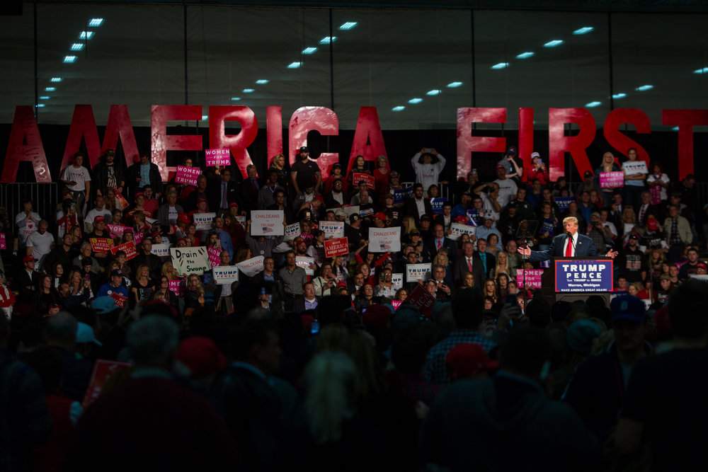 Republican presidential hopeful talks to a crowd of hundreds of supporters at Macomb Community College in Warren, MI on Monday, October 31, 2016. Trump previously spoke in Grand Rapids before his address in Warren.Matt Weigand | The Ann Arbor News