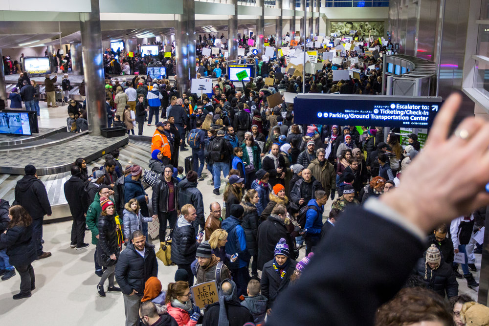 Thousands packed into the baggage claim at Detroit International Airport to protest President Trump and his immigration policy on Sunday, January 29, 2017. Matt Weigand | The Ann Arbor NewsMatt Weigand | The Ann Arbor News