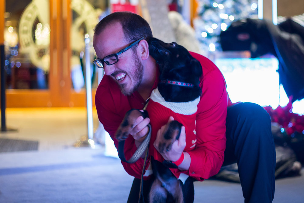 Briarwood Mall employee Jonathan Knight plays with Stanley, a 3-month-old German Shepherd mix, before taking a picture with santa at Briarwood Mall on Sunday, December 11, 2016. Each year Briarwood Mall hosts two nights where people can bring their animals for pictures with Santa. Matt Weigand | The Ann Arbor News