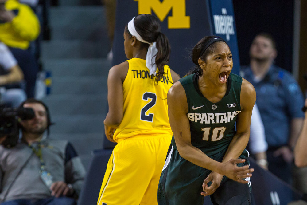 Michigan State's Branndais Agee (10) celebrates after drawing a foul during the second half of play at the Crisler Center on Sunday, February 19, 2017. Michigan State beat Michigan 86-68. Matt Weigand | The Ann Arbor News