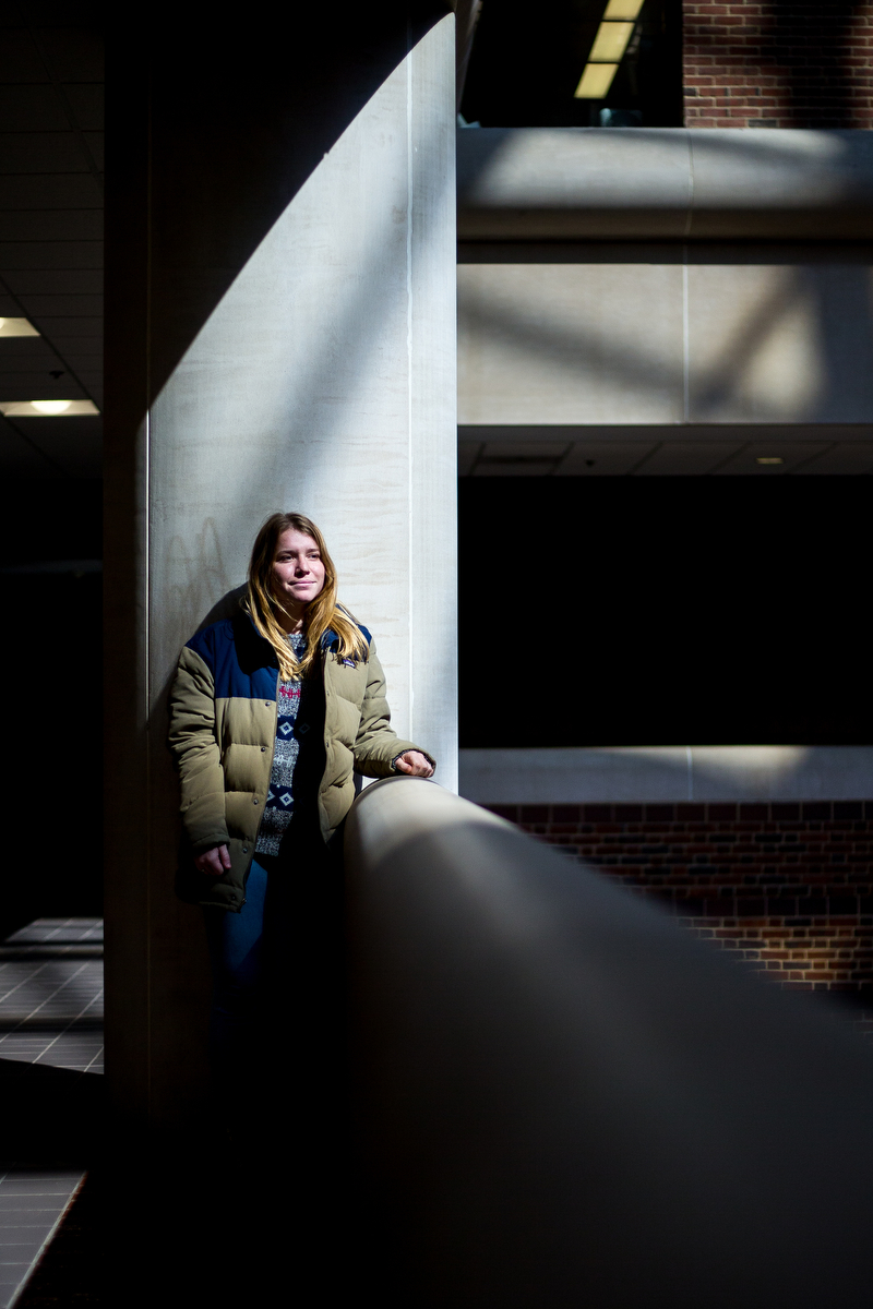 Taylor Baranski, a junior Interdisciplinary Chemical Science major at the University of Michigan, poses for a photograph at Hatcher Library on Thursday, March 23, 2017. Baranski has dealt with anxiety and depression for years before being diagnosed with bipolar disorder. Matt Weigand | The Ann Arbor News