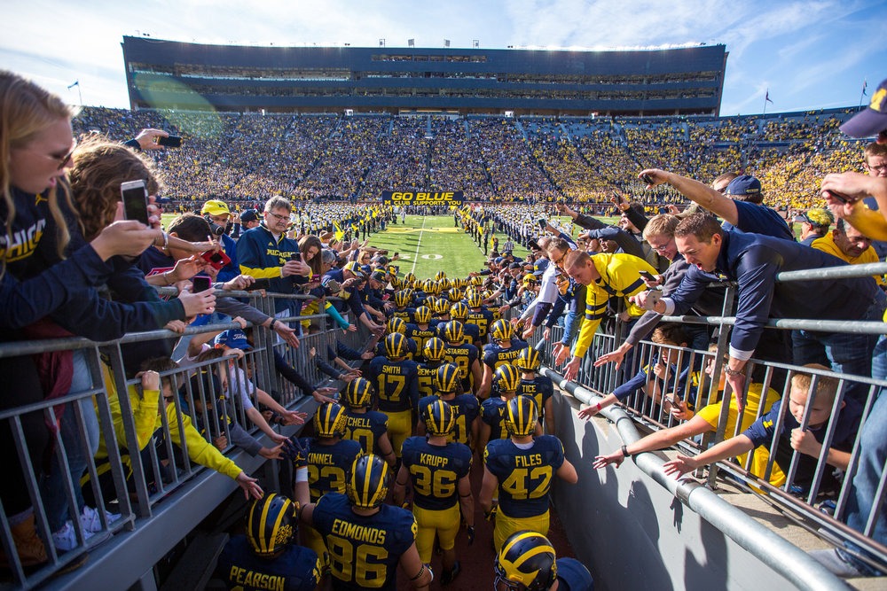 The Michigan players wait to run onto the field before kickoff against Maryland at Michigan Stadium on Saturday, November 5, 2016. The Wolverines lead the Terrapins 35-0 at half time.