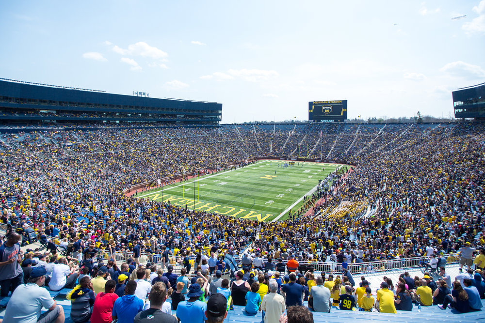 Over 57,000 people gathered at Michigan Stadium for the spring football game on Saturday, April 15, 2017. Matt Weigand | The Ann Arbor News