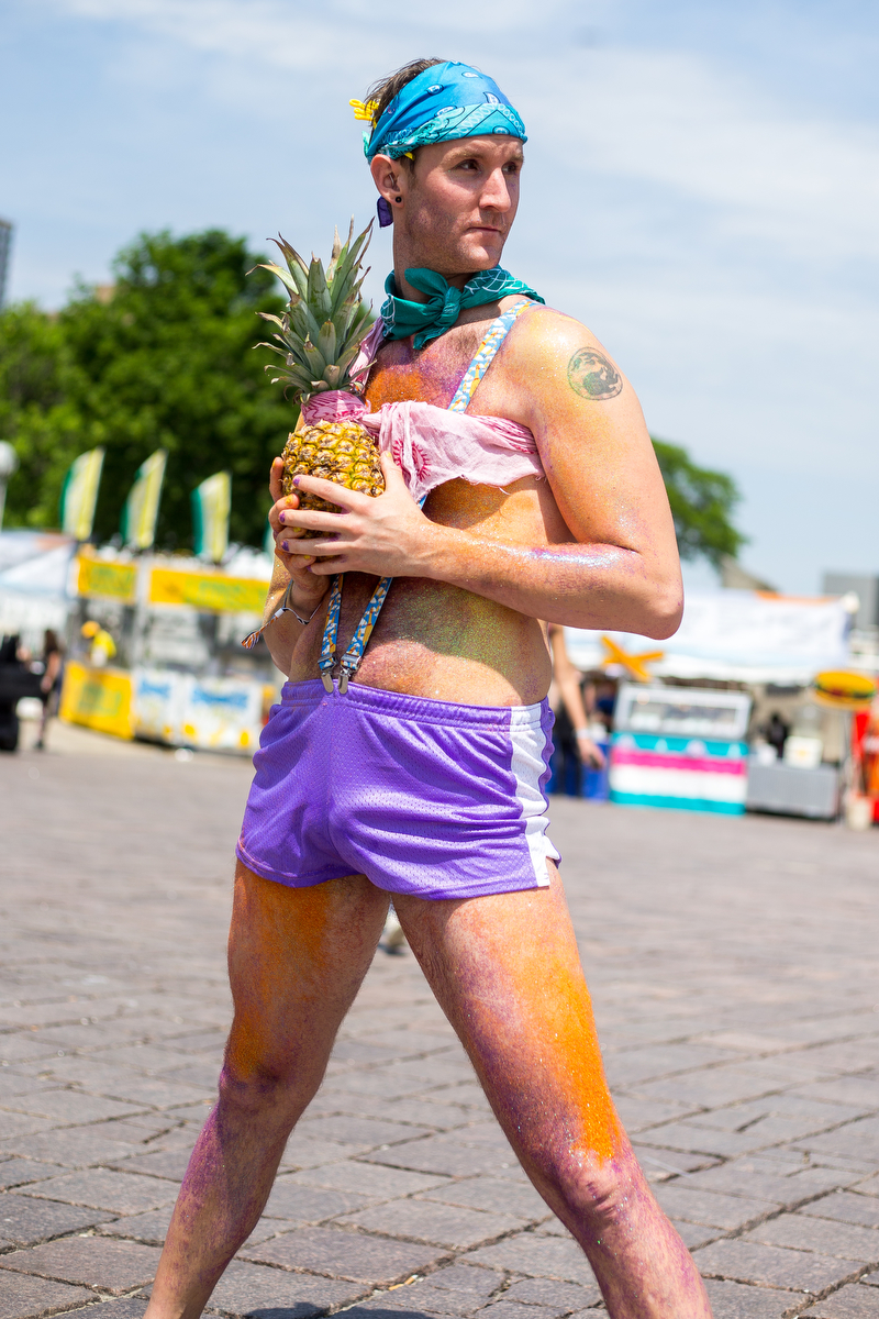 James Schultz poses for a photograph with his pineapple at Hart Plaza in downtown Detroit for day two of Movement Electronic Music Festival on Sunday, May 28, 2017. Over 100 artists are scheduled to perform over the three-day Memorial Day festival. Matt Weigand | The Ann Arbor News
