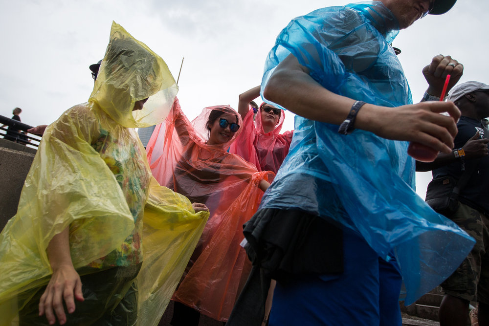 People dance in rain ponchos at the Main Stage during Francesca Lombardo's set at Hart Plaza in downtown Detroit for day two of Movement Electronic Music Festival on Sunday, May 28, 2017. Over 100 artists are scheduled to perform over the three-day Memorial Day festival. Matt Weigand | The Ann Arbor News