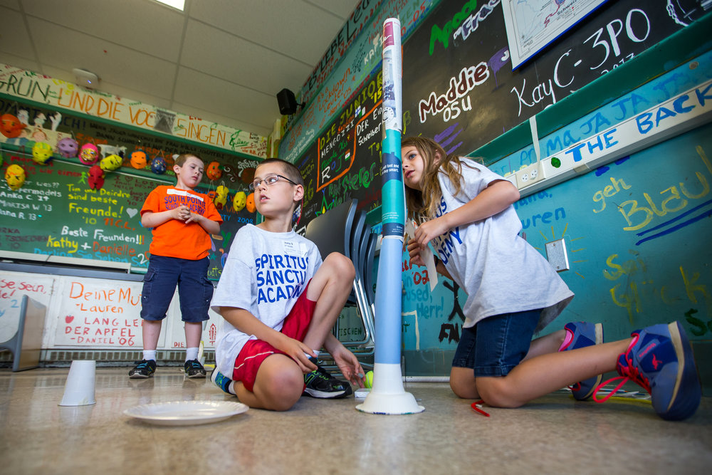 Students participate in mystery architecture during the 15th annual Washtenaw Elementary Science Olympiad at Pioneer High School on Saturday, June 3, 2017. Over 2,300 students participated in the competition, which consisted of 21 events ranging from water rockets to aerodynamics. Matt Weigand | The Ann Arbor News