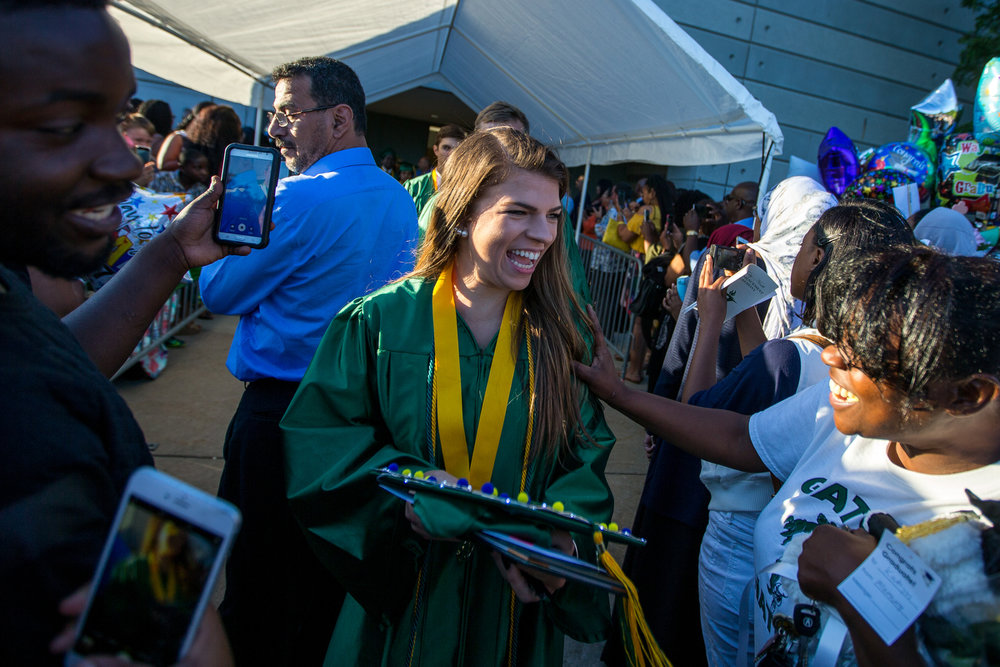 Huron High School students attend their graduation at the Eastern Michigan University Convocation Center in Ypsilanti on Wednesday, June 7, 2017. 316 students accepted their diplomas and ended their high school careers. Matt Weigand | The Ann Arbor News
