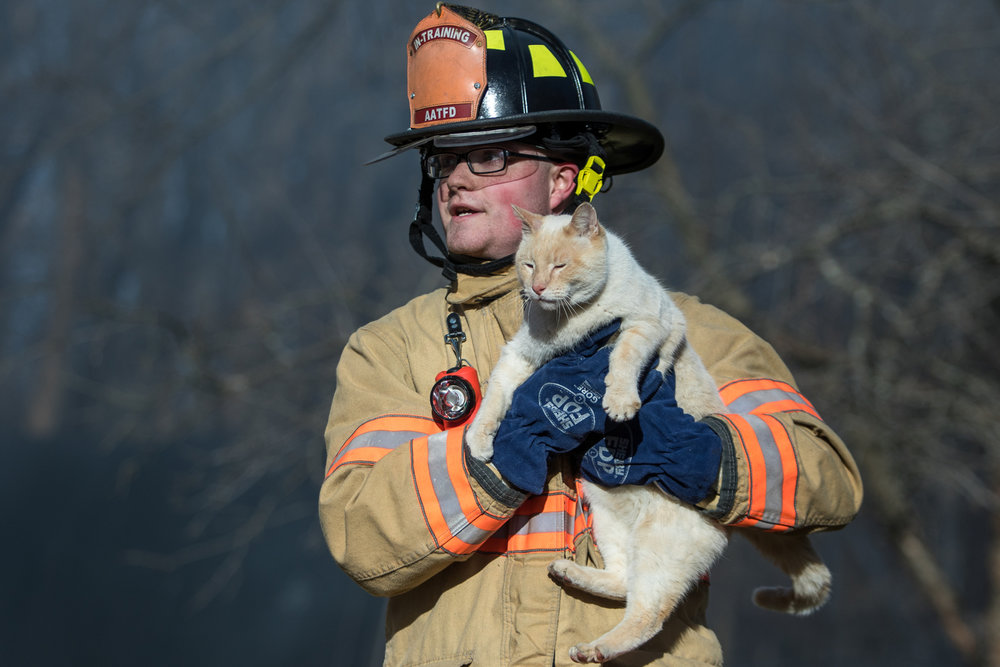 Ann Arbor Township fire fighter Preston Prator carries a cat named Buddy who escaped from a structure fire on Scully Road in Webster Township on Friday, March 10, 2017. The fire completely destroyed the home and a nearby field caught on fire. The cause of the fire is still under investigation. Matt Weigand | The Ann Arbor News