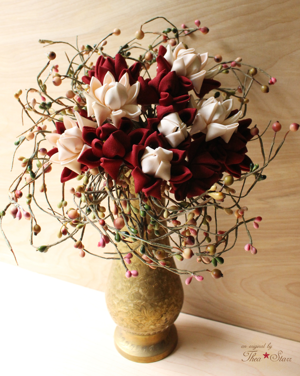 Burgundy and Cream Keepsake Bouquet | Thea Starr