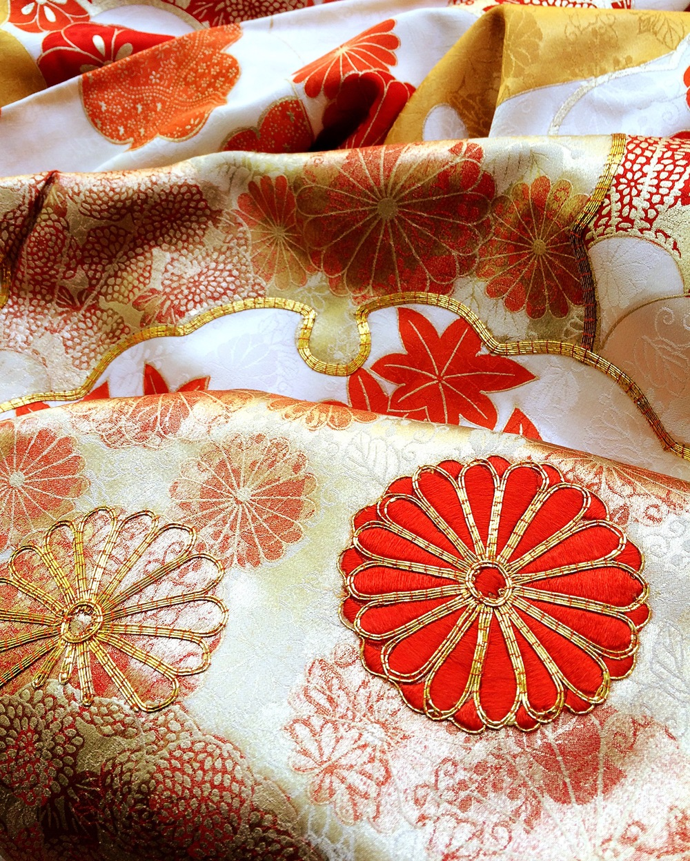 Vintage furisode kimono with heavy embroidery.