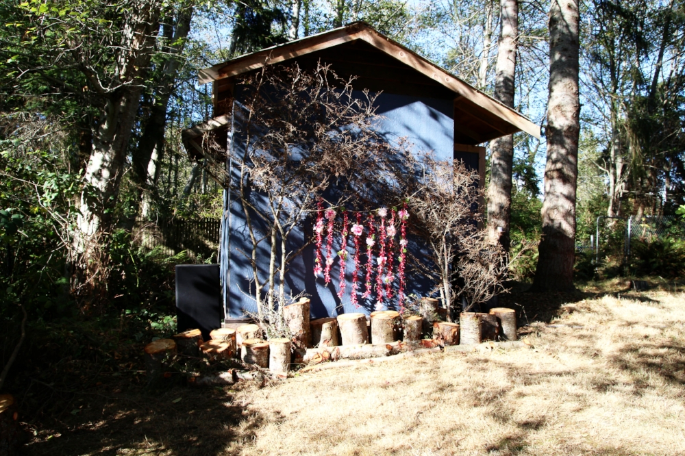Our ceremony site decorated with pieces of the tree that fell down onto the house. I stood pieces on end and hung a small flower back drop off of a few large branches that had pinecones on them.