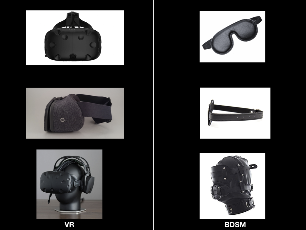 Two columns of images.  One of virtual reality headsets like the HTC Vive,