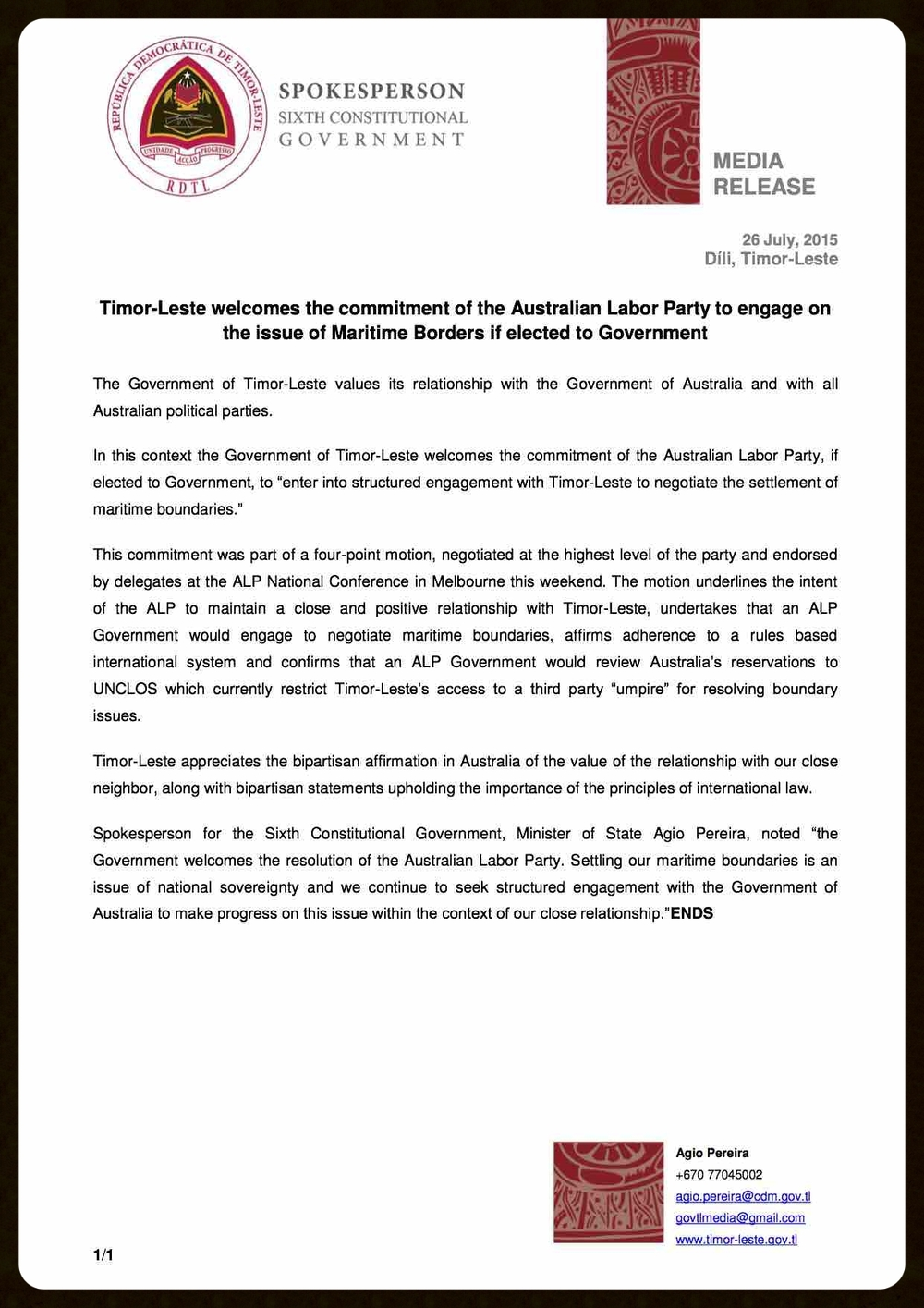 Timor-Leste welcomes the commitment of the Australian Labor Party to engage on the issue of Maritime Borders if elected.jpg