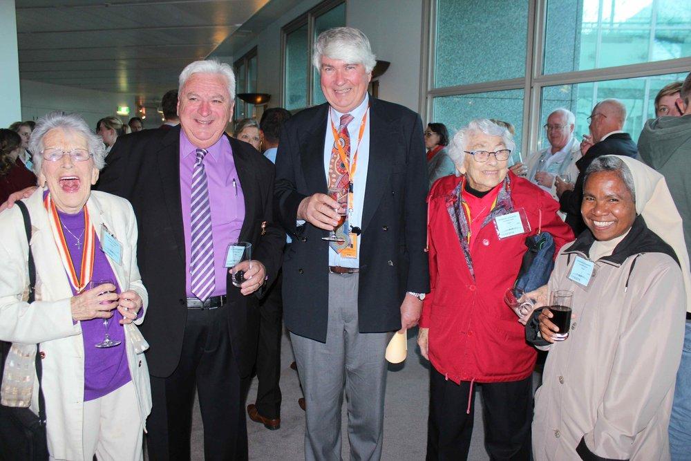 Nora Kenneally [left], Gerald Kenneally, Frank Brennan SJ, Joan Westblade LCM, Inacia Mafalda O. Carm.