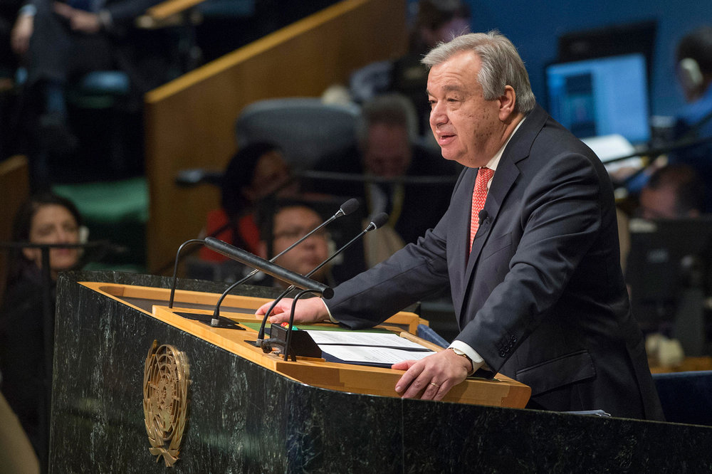 António Guterres, Secretary-General-designate of the United Nations, taking the oath of office and delivering remarks to the General Assembly. UN Photo/ Eskinder Debebe
