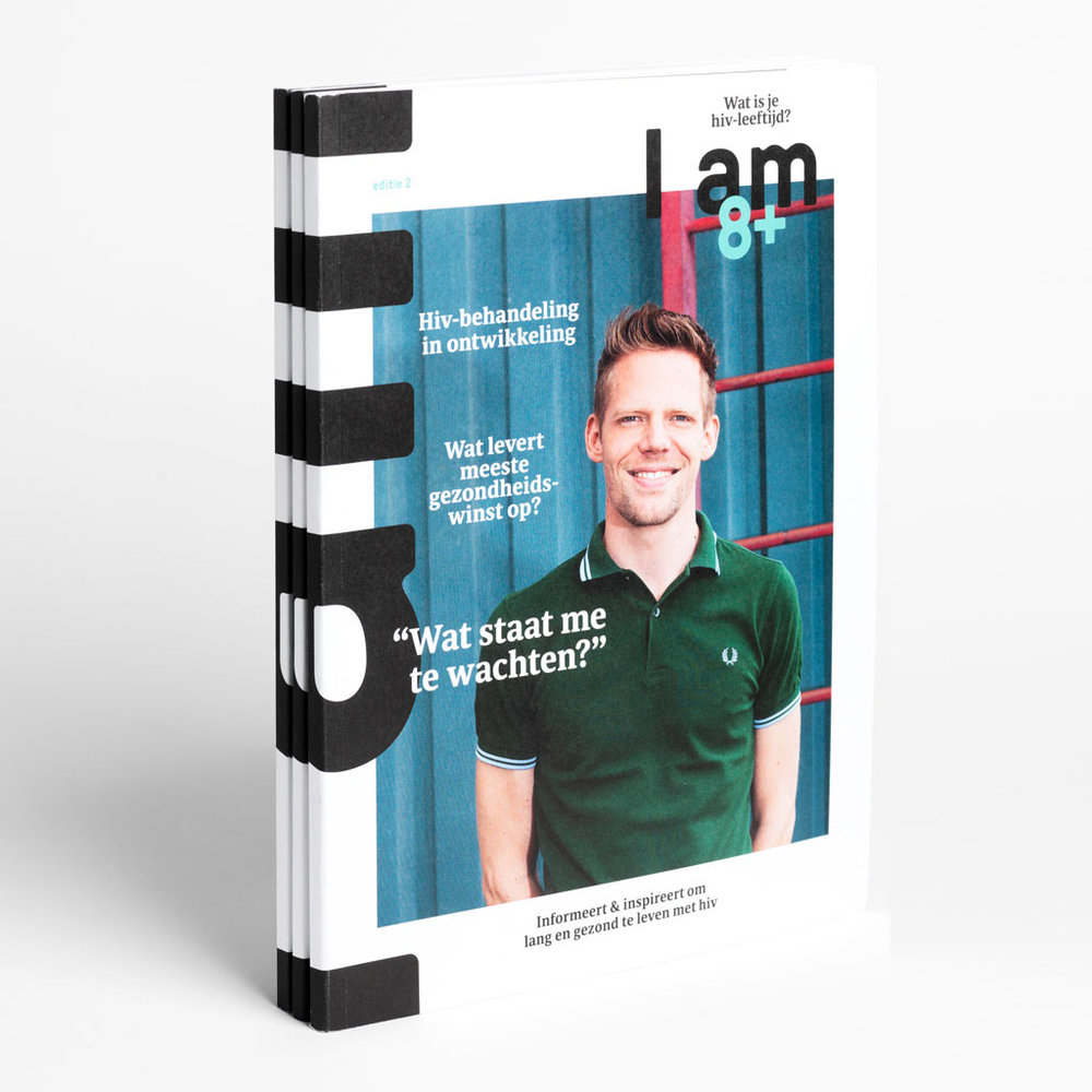 Magazine design - I AM+ magazine inspires and informs HIV-positive people living in the Netherlands to lead long and healthy lives.