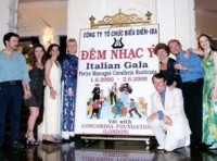 The cast of Cavalleria Rusticana grouped around the display board at the Opera House in Ho Chi Minh City