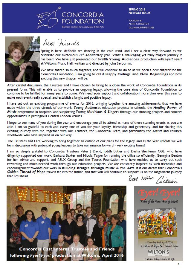 concordia foundation Newsletter