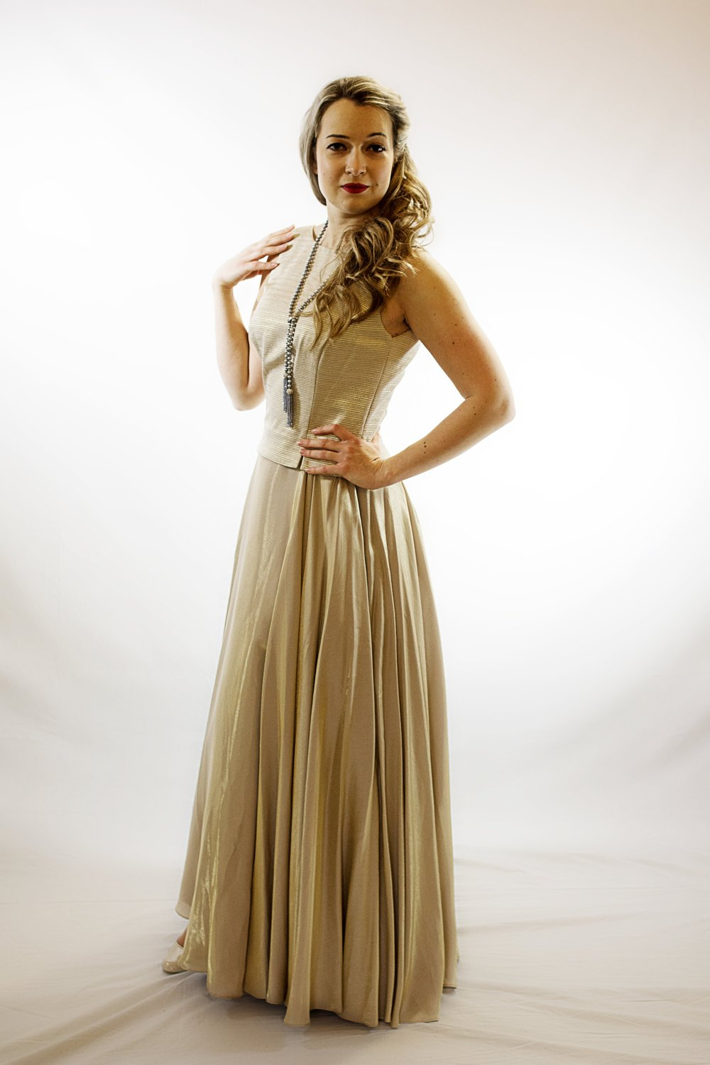 Natasha day (soprano) wears item 164: gold evening gown