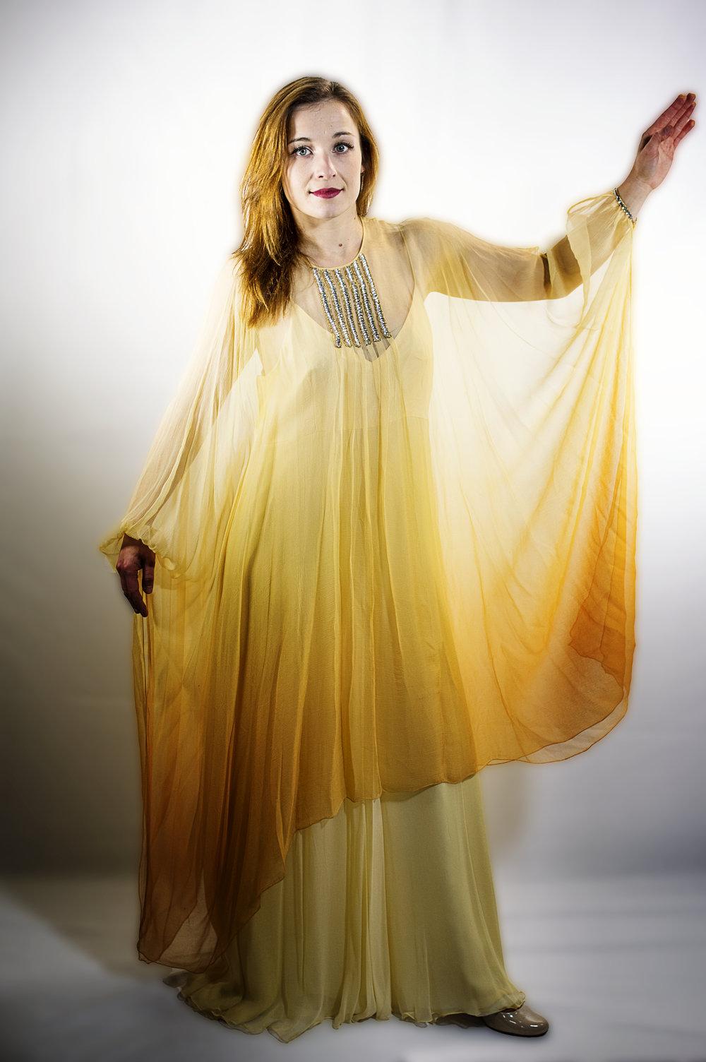 urska horvat (cello) wears item 201: silk slip dress with embellished kaftan-top
