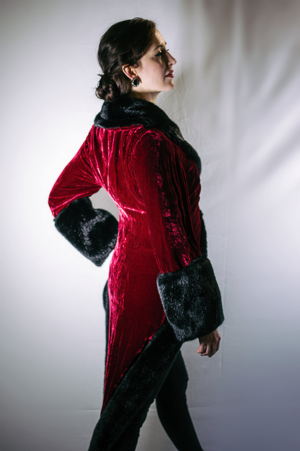 vivien conacher (mezzo-soprano) wears item 101: red velvet and fur tailcoat