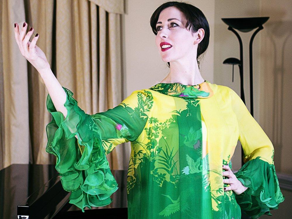 Vivien conacher (mezzo-soprano) wears item 97: hand-painted hanae mori silk dress