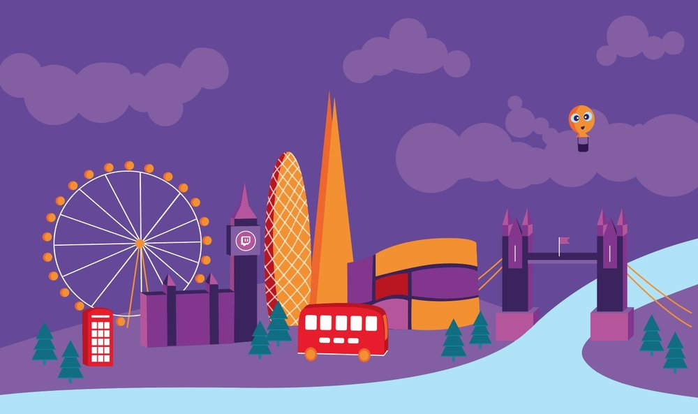 Bespoke Illustration of London Skyline for Twitch.