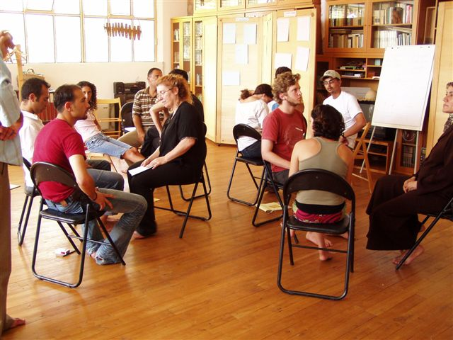 2005. Developing ways to cope with the structure of 3 identity groups and 3 facilitators. The teams that are going to work together are being trained together. Trust is a key element.