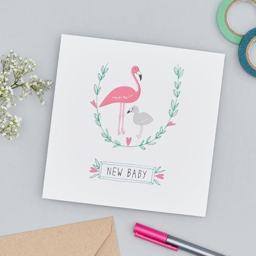 flamingos new baby card rosa clara designs
