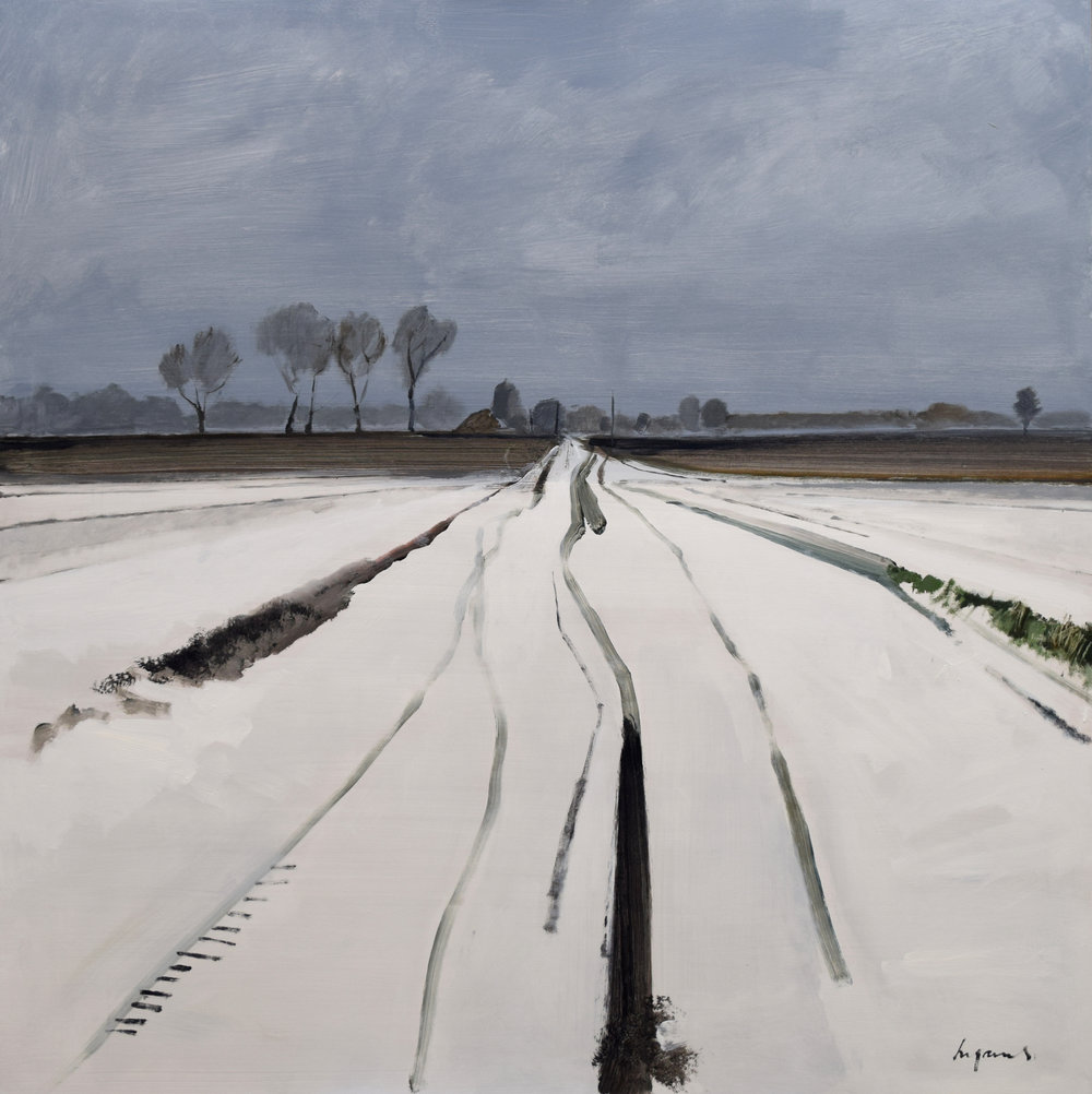 Snow tracks, Fodderfen Drove, March 2018
