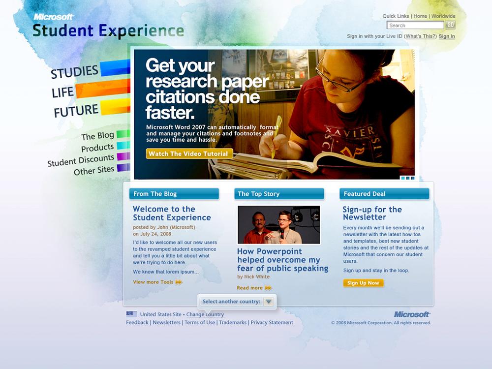 Microsoft / Student Creative Lead / Content Strategy. Digital. Online Community. Social. Educational.