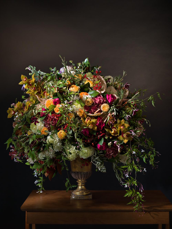 Hydrangeas, roses, anthurium, cymbidium orchids, viburnum berries, olive branches, clematis vine, & jasmine vine