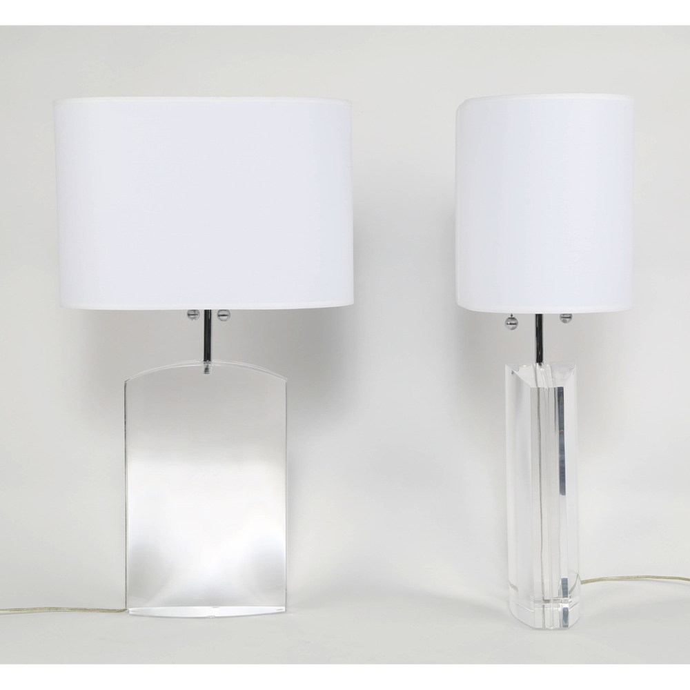 Charmant Les Prismatiques Heavy Lucite Table Lamps