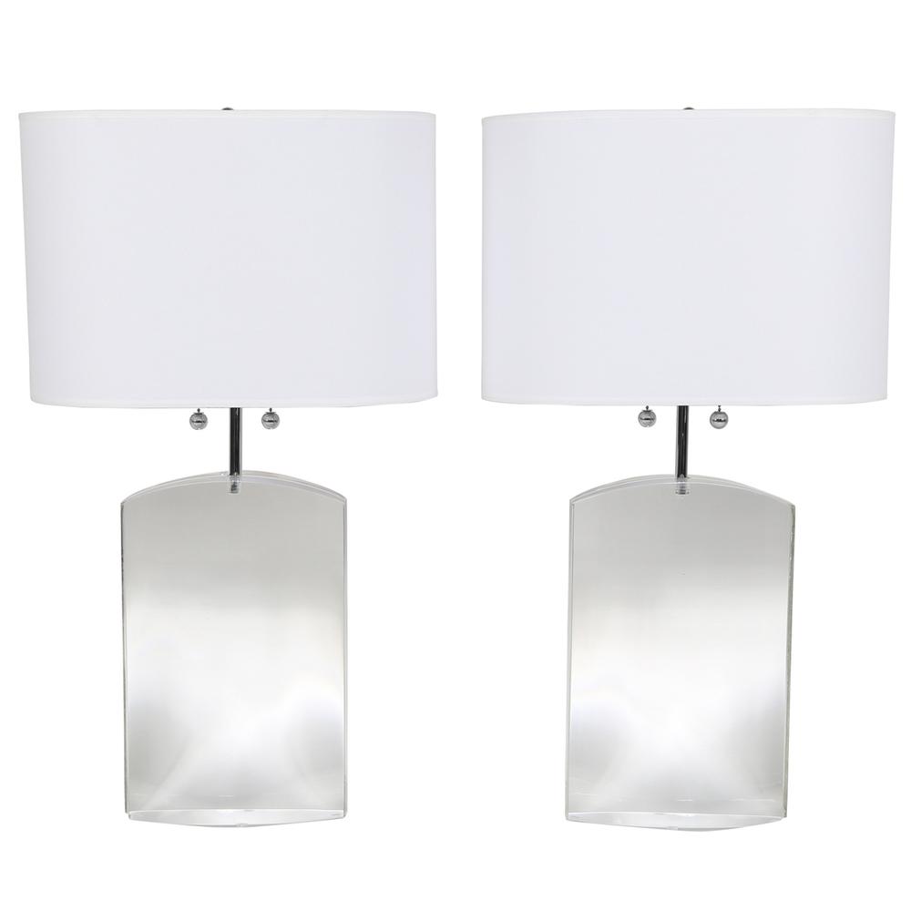 les heavy lucite table lamps - Lucite Table