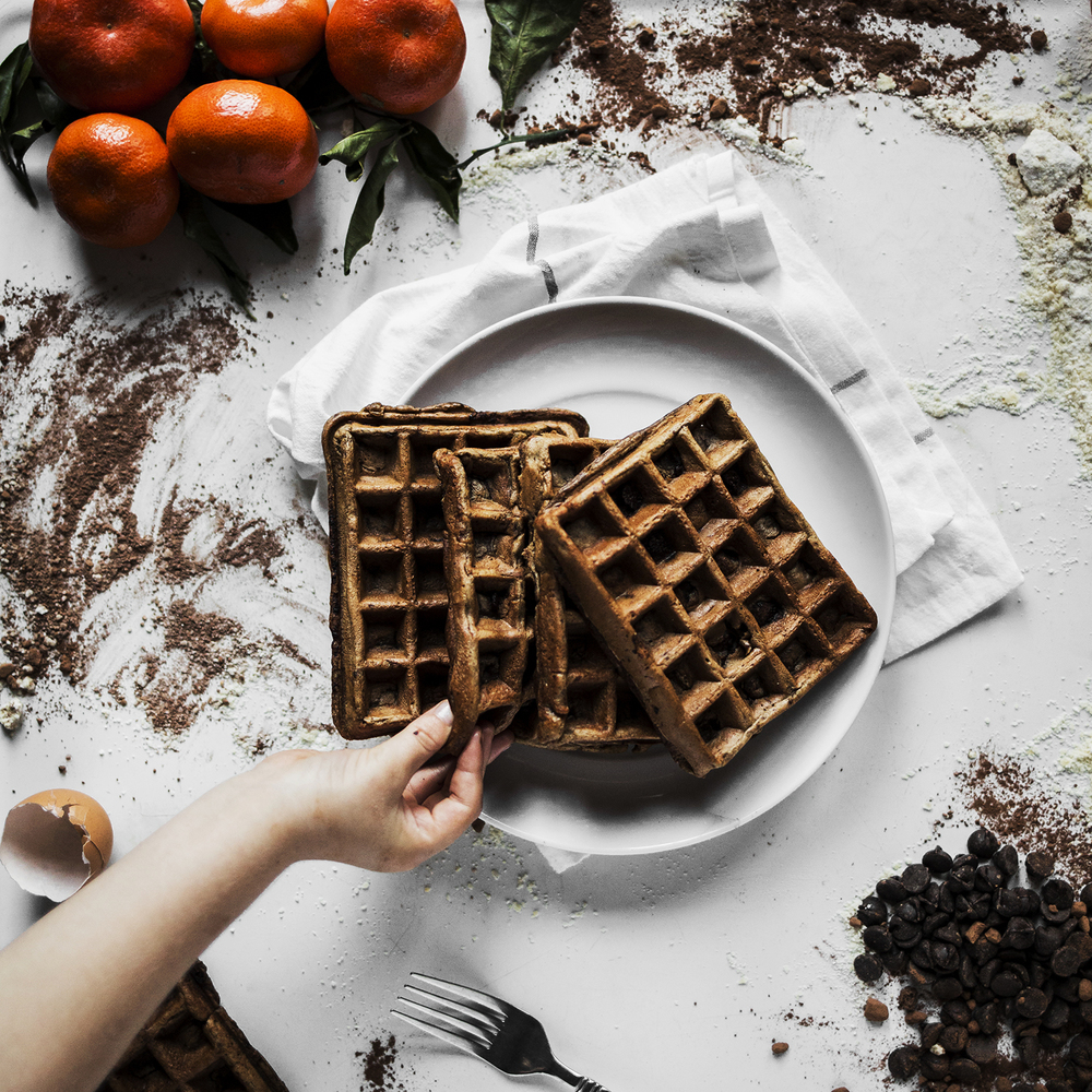 chocolate- waffles- hands