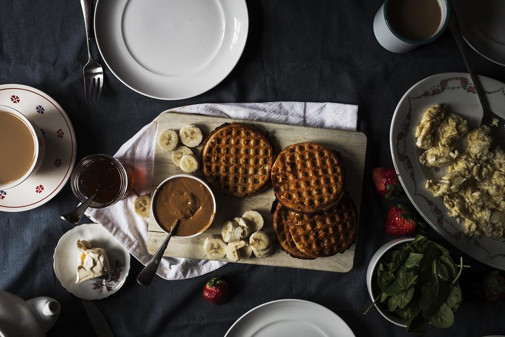 waffles-food-bananas -breakfast- eggs