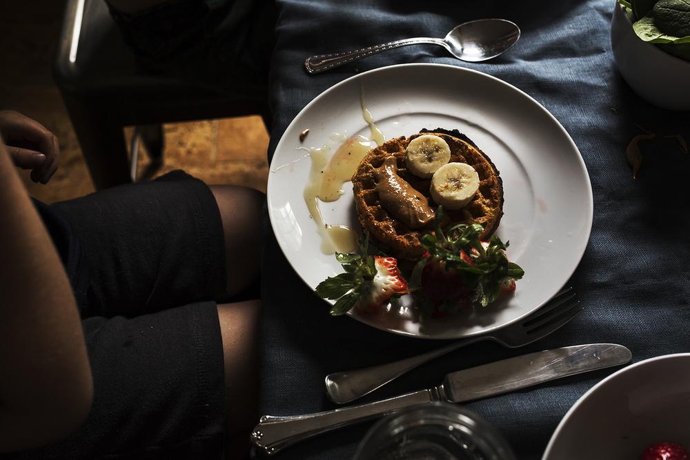 food - photography - waffles - strawberries - bananas - Charleston
