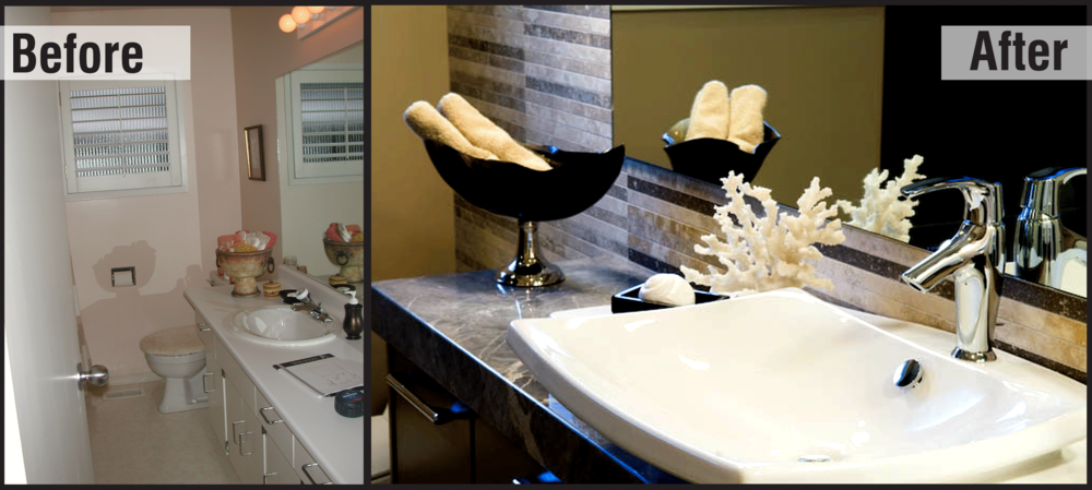 These Photos Show The Before And After Of A Guest Bathroom Renovation Done In North Vancouver By Interior Designer Tiffany Karlson Solutions