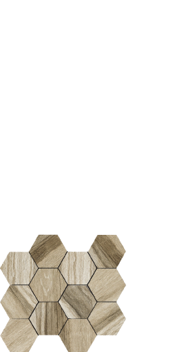 Drift beige, wood look porcelain, hexagon