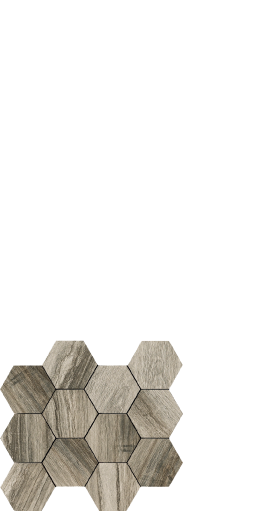 Drift grey, wood look porcelain, hexagon
