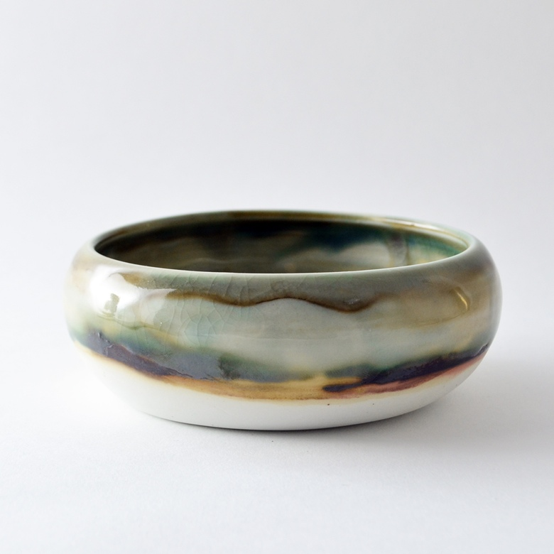 Mottled Shallow Pouch Bowl