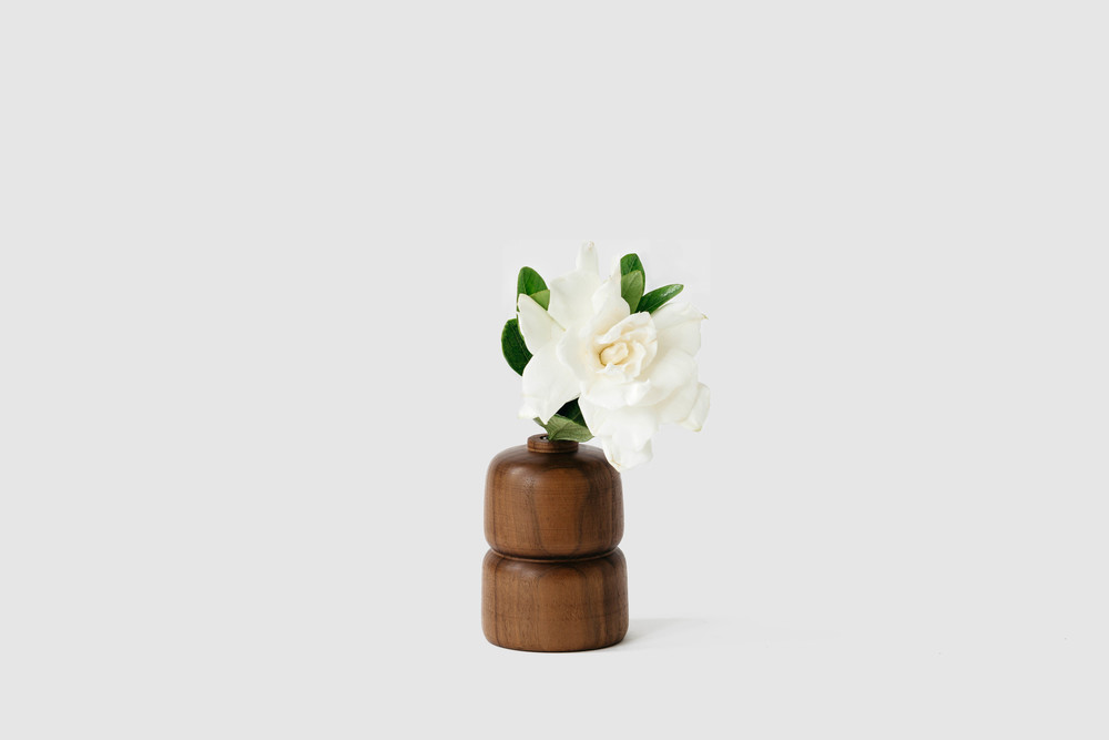 Double Walnut Wood Vase