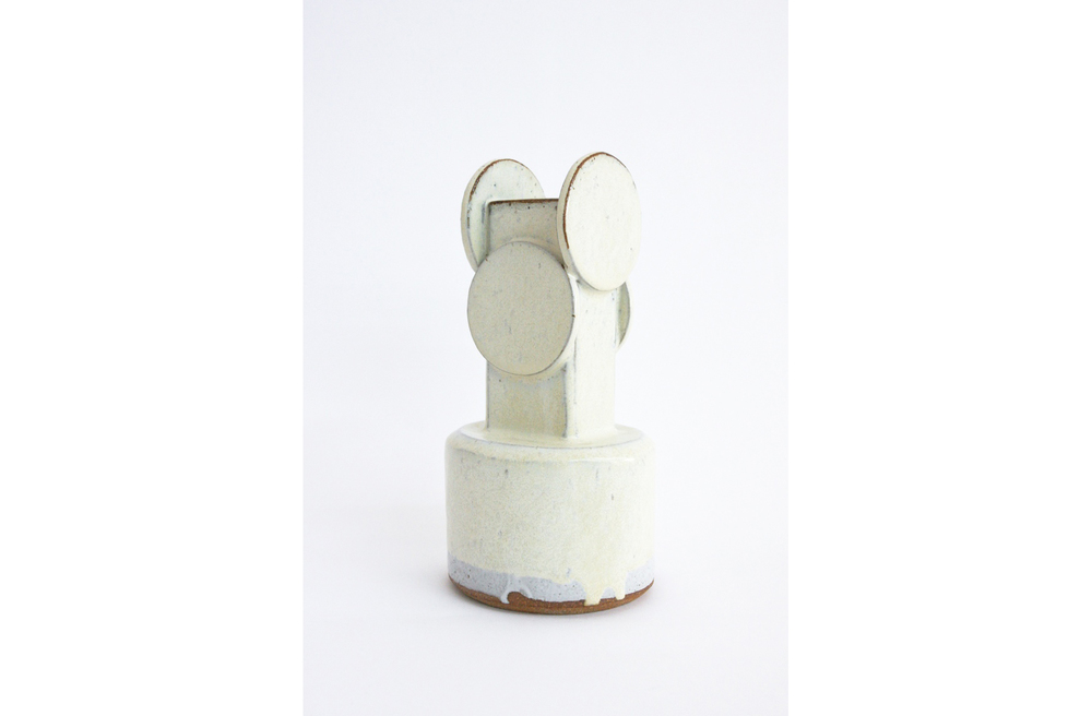 Short Brutalist Circle Top Vase - Cream